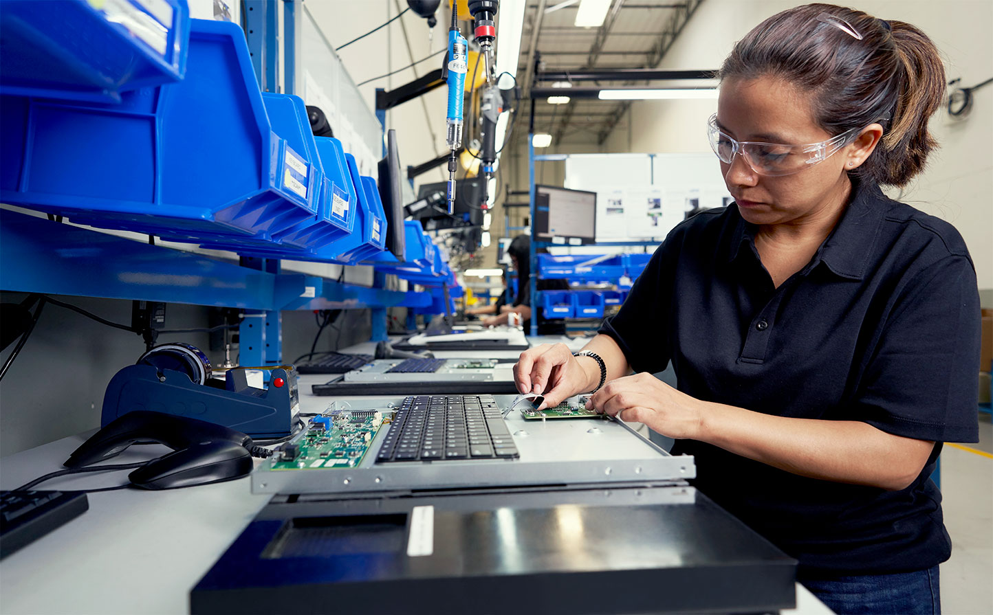 woman assembling product